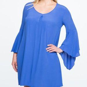 ELOQUII V Neck Flare Sleeve Shift Dress